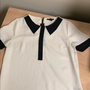 Black and White Blouse with Peter Pan Collar